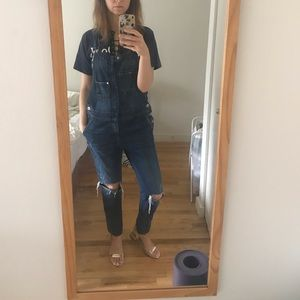 H&M ripped skinny denim overalls jeans cute!